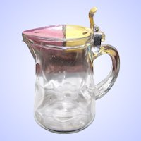 Vintage Etched Glass Maple SYrup Jug Pitcher  Pat Nov 3 1914 No. 1.115.768 Floral Theme