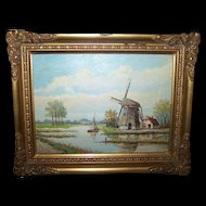 Lovely Vintage Scenic  Oil Painting Dutch Windmill Water Sailing Boat Ship Countryside Scene