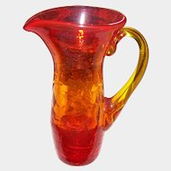 Small 4 inch Amberina Glass Pitcher pontil bottom Yellow Applied Handle