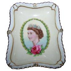 Royal Crown Derby Bone China Pin Tray Dish Queen Elizabeth II  Coronation Year