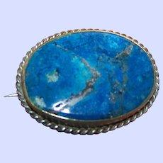 Vintage Blue Lapis Lazuli Gemstone  Brooch Pin Brass Set with Twisted Boarder