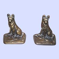 Heavy Vintage German Shepherd Police Dog Cast Iron Bookend Brass Finish