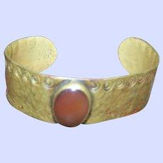 Vintage Brass Cuff Style Bracelet Bangle with Carnelian Cabochon
