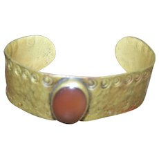 Vintage Brass Cuff Style Bracelet Bangle with Carnelian Cabochon