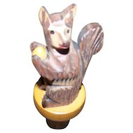 Vintage Collectible Carved Wood Squirrel with Nut Figural  Cork Stopper