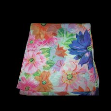 Beautiful Sheer Delicate Rectangular  Designer Signed Diane Von Fürstenberg  Floral Pattern Scarf