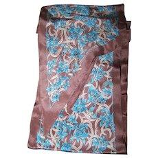 Long Wingtip Silk Scarf Signed  Museum of Fine Arts Boston  Blue Flower Butterfly Theme