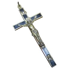 Large 4 1/2 Inch Vintage Skull & Crossbones Ebony Wood Cross Crucifix