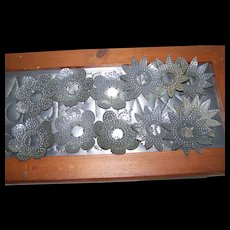 12   Vintage Punched Decorative Metal Tin Christmas Xmas  Light Reflectors 1930's Era