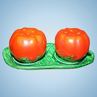 Wonderful Set of Vintage Majolica Style Tomato Salt & Pepper Spice Shakers with Tray