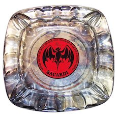 Vintage Advertising Bat Logo Bacardi Rum  Glass Ashtray with 4 Cigarette Rests