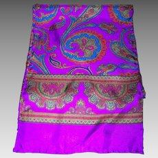 A Pretty Long Paisley Pattern Silk Scarf Purple Ground Wearable ART