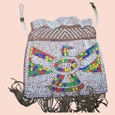 Vintage BoHo 60s/70s Fringe Thunderbird Plastic Beaded Bag Pouch