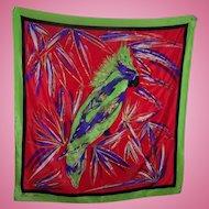 Stunning Vintage Designer Signed Anne Klein for the Vera Companies Silk Parrot Scarf