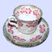 Beautiful Art Nouveau Style Floral Teacup & Saucers Atlas China Made in England