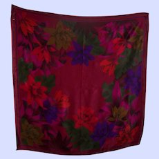 A Lovely Designer Signed Liz Claiborne Tropical Floral Theme Silk Fashion Scarf