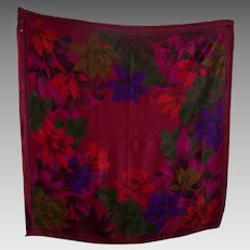 A Lovely Designer Signed Liz Claiborne Tropical Floral Theme Silk Fashion Scarf