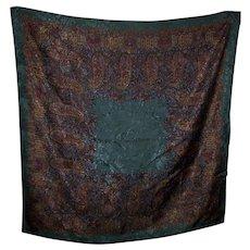 Vintage Designer Signed Ralph Lauren Paisley Jaquard Style Silk Scarf Wearable  ART