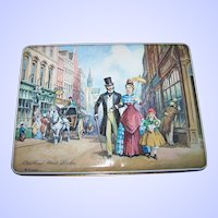 Vintage Tin Litho Advertising Box Foxs Biscuits Old Bond St. London Signed K Forrester