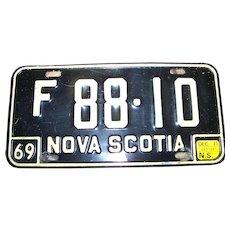 F-88-10 Nova Scotia License Plate 1969 Tin Metal Souvenir with Renewal Sticker