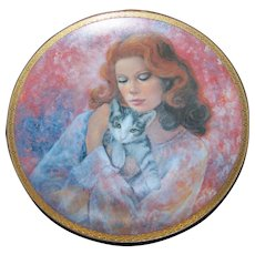 Collector Plate Affection Tabby Cat with Pretty Lady Created by Rosemary Calder American Masters 1978