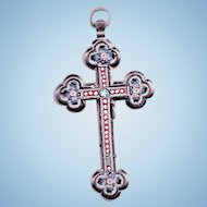 Lovely Little Micro Mosaic   Micromosaic Tessarae Cross Crucifix Pendant by Artist Josef Anton Stocker