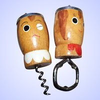 Salt and Pepper Shakers Bottle Opener Cork Screw ~Japan~Wooden~Salty~ Peppy~Cooking~Retro 50's