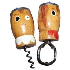 Salt and Pepper Shakers Bottle Opener Cork Screw ~Japan~Wooden~Salty~ Peppy~Cooking~Retro 50's