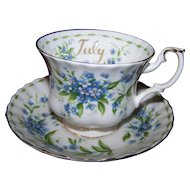 July Flower of The Month Forget-Me-Not Royal Albert Tea Cup Saucer Set