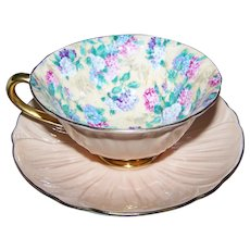 Vintage Shelley Oleander Shaped Summer Glory Hydrangea Chintz Cup and Saucer AS IS