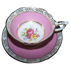 Mixed Floral Bouquet Pink Ground Gold Decorated Tea Cup Saucer Set Royal Stafford England