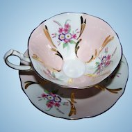 Wonderful Pink & White Mixed Floral Bouquet Queen Anne  Tea Cup Saucer Set Gold Decoration