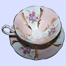 Wonderful Pink & White Mixed Floral Bouquet Queen Anne  Tea Cup Saucer Set Gold Decoration