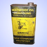 Paper Label Tin for NEATSFOOT Oil Compound Griffith Saddlery & Leather Stratford , Ont Canada EMPTY