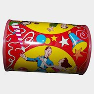 Cheerful Bright Tin Litho Party Noise Maker Rattle US Metal Toy MFG CO USA  Dancers Theme