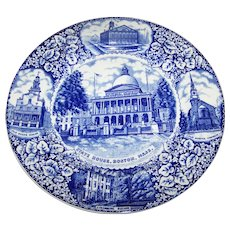 10.5 Inch Flow Blue Historical Souvenir Plate Of BOSTON  Mass. USA  Made for R.H. Stearns Co. Adams England