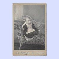 A Sweet Baby Photograph CDV Sitting in a Wicker Sette Halifax Nova Scotia Canada Moss Photo Co.