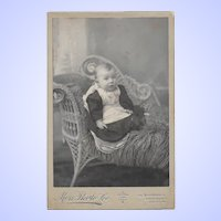 A Sweet Baby Photograph CDV Sitting in a Wicker Sette Halifax Nova Scotia Canada Moss Photo Co.