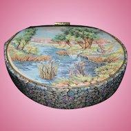 Beautiful Vintage Tapestry Handbag Purse Countryside Geese  Lady Flowers