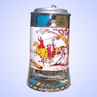 Vintage Glass Beer Stein The Game Shoot Hunting Scene Pewter Lid Treibjadg Italy