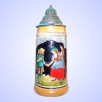 Vintage  Scenic Beer Stein with Decorative  Pewter Lid Impressed West Germany