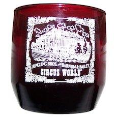 Souvenir Collectible Red  Ruby Glass Collectible Ringling Bros and Barnium & Bailey Circus World Glass