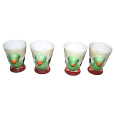 4 Charming Vintage Hand Painted Ceramic MIJ Duck Egg Chick Egg Cups Eggcups