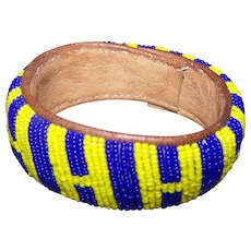 Bright Blue and Yellow Glass Seed Bead and Leather Bangle Bracelet