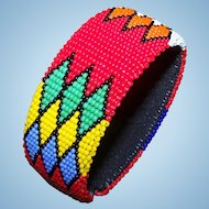 Bright Cheerful Glass Seed Bead Flexible Cuff Style Bangle Bracelet