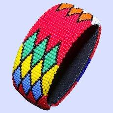 Bright Cheerful Glass Seed Bead Flexible Cuff Style Bangle Bracelet