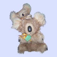 Genuine Fur  KOALA BEAR  & Baby Stuffed Animal Toy Blue Gum Baby by MORELLA