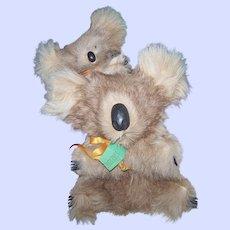 Genuine Fur  KOALA BEAR  & Baby Stuffed Animal Toy Blue Gum Baby by MORELLA