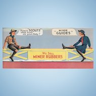 A Wonderful Vintage Advertising Paper Ink Blotter MINER RUBBERS  Girl Guides Boy Scouts