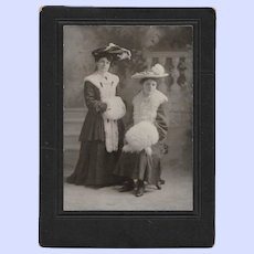 Beautiful Black & White CDV Photograph Sisters with Hats &  Fur Muffs